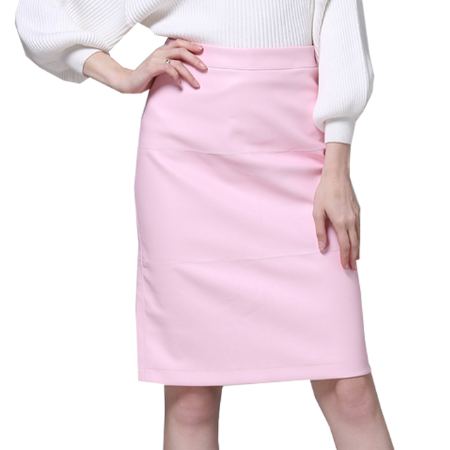38f33a98144 Fashion Pink Faux Leather Skirt Women Slim Black Pu Skirt Knee Length Split  Solid Office Lady High Waist Skirts Pencil Sexy