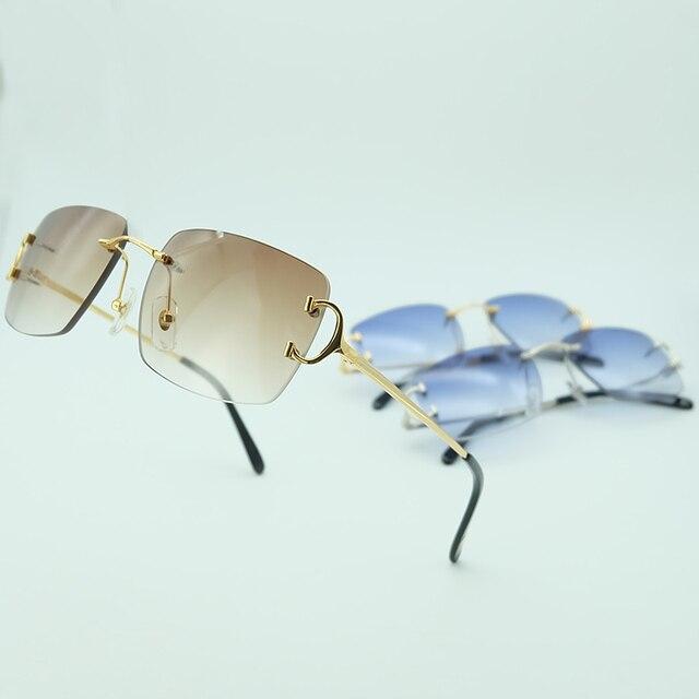 Gafas De Sol sin montura para hombre y mujer, lentes De Sol De lujo, Marco Carter para conducir, cuadradas, accesorios De diseñador