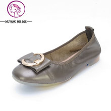 MUYANG Brand High Quality Women Genuine Leather Shoes Slip On Flats Handmade Shoes Loafers mocassin Low Women's shoes Slipony
