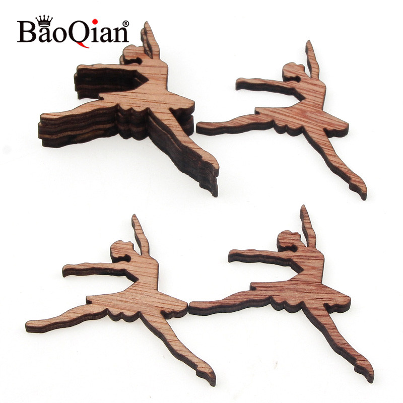 15Pcs Wooden Ballet Girl Wood DIY Crafts Festival Home Crafting Decoration Embellishment Hanging Ornaments 50x37mm