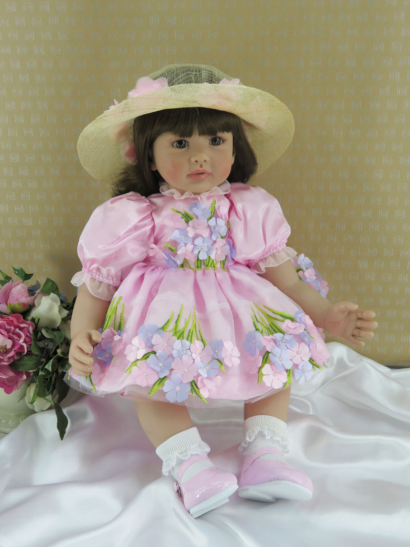60cm Beautifully Silicone Reborn Baby Girl Doll Toy For Children 24inch Vinyl Toddler Princess Babies Doll With Hat Kid Birthday60cm Beautifully Silicone Reborn Baby Girl Doll Toy For Children 24inch Vinyl Toddler Princess Babies Doll With Hat Kid Birthday
