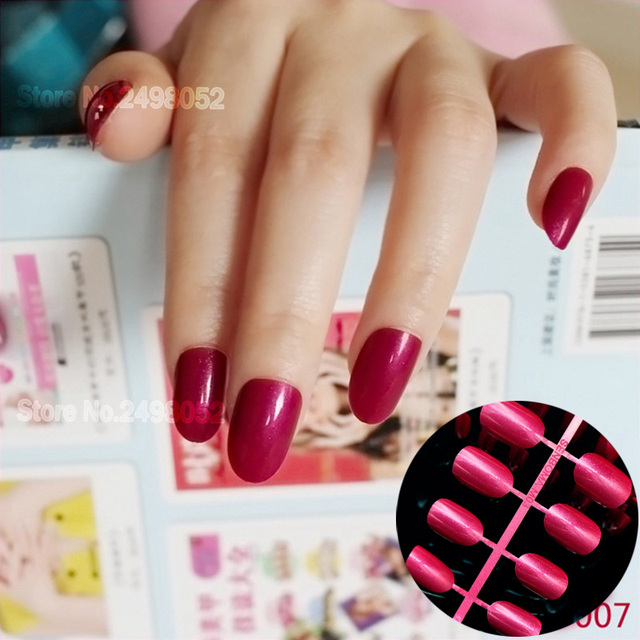 Glitter Full Wrap Fake Nails Sun Red False Nail Art Design Tips