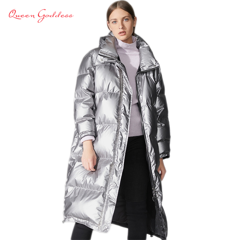 Winter Special Design Metallic Color Fashion Parkas Thicken Warm White Duck Down Jacket Young Girl Oversize Outwear News