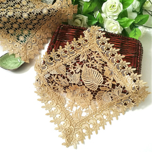 Square 30cm European Embroidery Hollow Champagne Gold Hotel Restaurant Table Placemat Coffee Tea Cup Coaster Small Furniture Mat