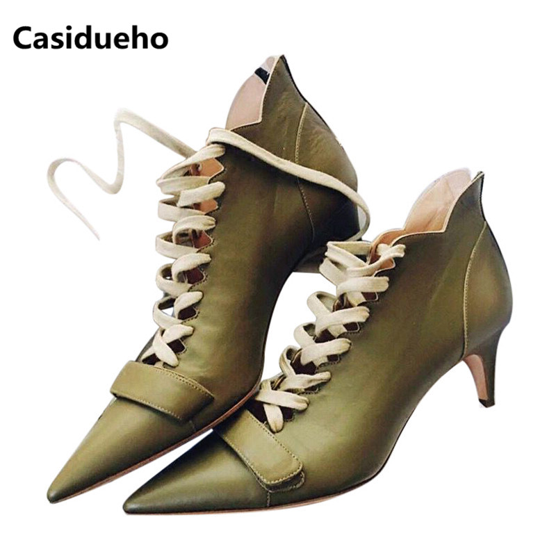 Casidueho Women Ankle Boots Pointed Toe High Heels Shoes Woman Lace Up Short Booties Real Leather Sexy Women Pumps New Sandals