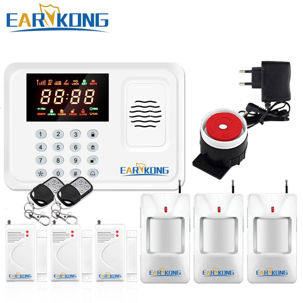 Protección de Seguridad Wireless 433 Mhz sistema de alarma GSM Color blanco sistema de alarma antirrobo antena interior teclado Sensor de movimiento