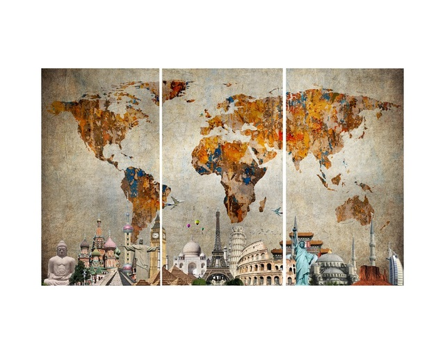 Colorful world map masterpiece multi panel canvas wall art in colorful world map masterpiece multi panel canvas wall art gumiabroncs Images