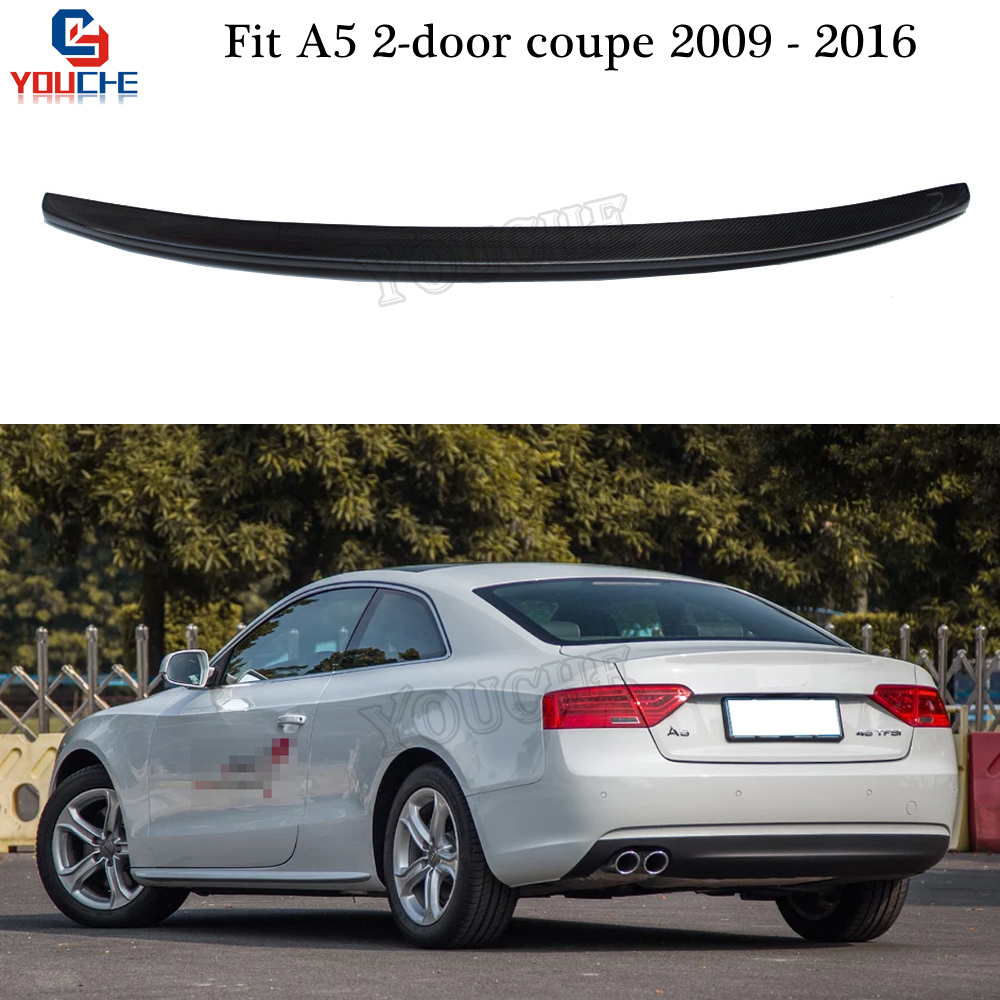 S5 Style Carbon Fiber Rear Spoiler Trunk Wing for Audi A5 2009 - 2016 2-door Coupe Trunk Boot Lid Tail Spoiler image