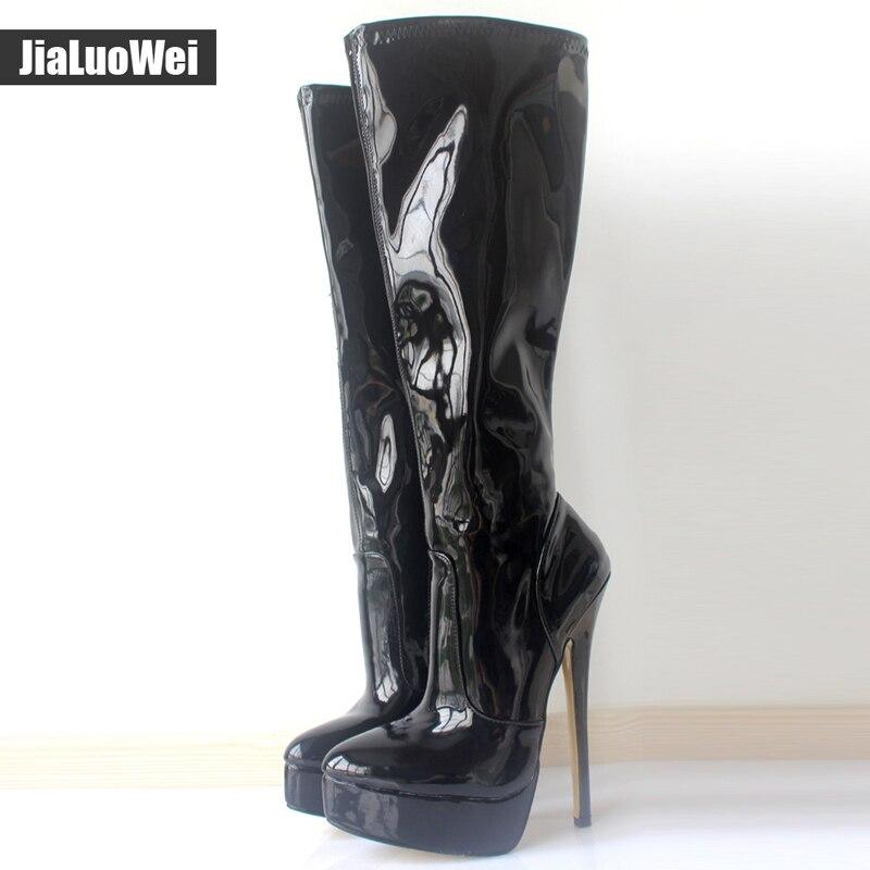 Hiver Chaussures Longues Taille Nouvelle Femmes Jialuowei Talon Pour Plate À Bout Color Pointu forme Genou Automne Du Femme 7 Hauteur Bottes