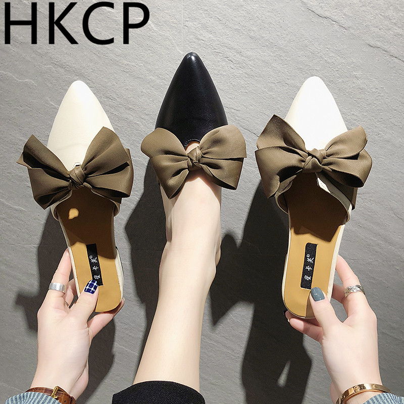 HKCP Bow toe slipper women 2019 new womens shoes summer wear baotou lazy flat slippers C174