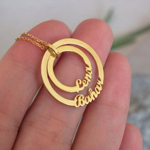 Custom jewelry Gold Color Engraved Double Name Necklace Female Circles Necklaces Collares Collar Mujer BFF