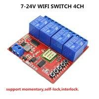 4CH Smart Remote Control Wifi Switch 7V 9V 12V 24V DC Home Automation Wireless Light 10A