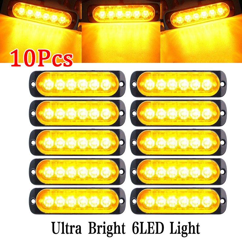 10Pcs 18W Amber 6 LED Car Truck Camion Strobe Warning Lights Lamp 12V Super Bright Emergency for Trucks amber led