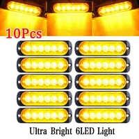 10Pcs 18W Amber 6 LED Car Truck Camion Strobe Warning Lights Lamp 12V Super Bright Emergency Strobe Lights for Trucks amber led
