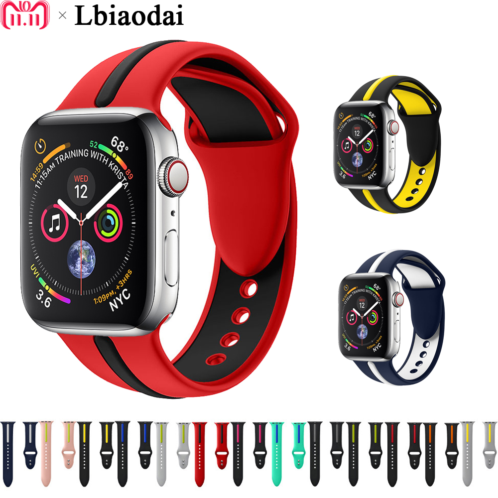 Silicone Strap for Apple Watch band Iwatch band 42mm 38mm 44mm 40mm Rubber Wrist Colck bracelet watchband for apple watch 4 3Silicone Strap for Apple Watch band Iwatch band 42mm 38mm 44mm 40mm Rubber Wrist Colck bracelet watchband for apple watch 4 3