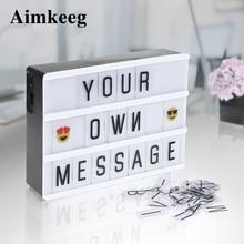 Aimkeeg A4 A6 Размер LED Комбинация Night Light Box USB AA Батарея DIY Письма Карты Украшения