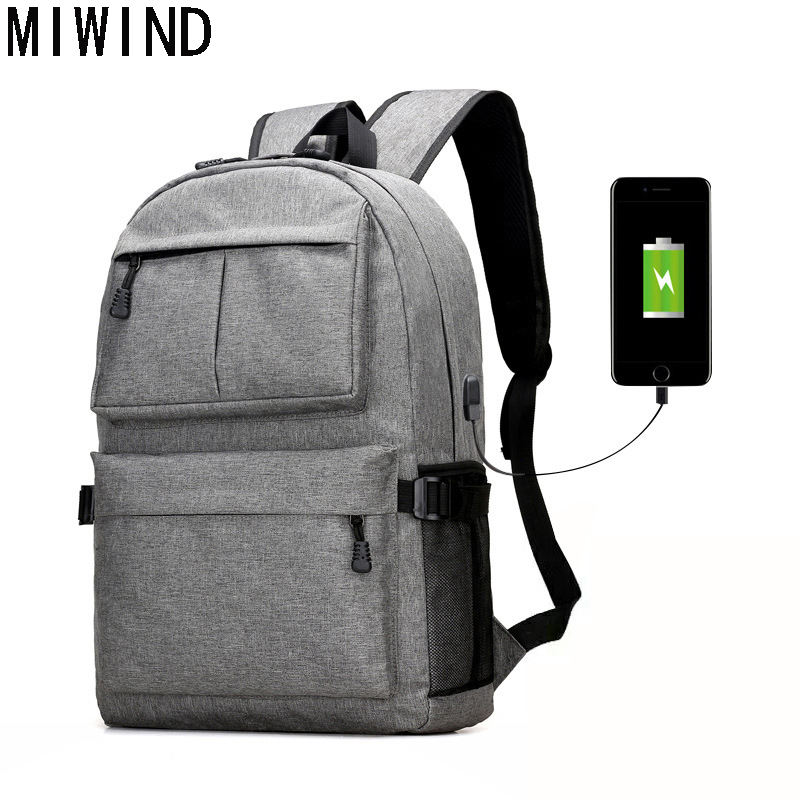 MIWIND Brand USB Design Backpack Book Bags for School Backpack Casual Rucksack Daypack Oxford Laptop Male student backpack T1086 objective ielts advanced student s book with cd rom