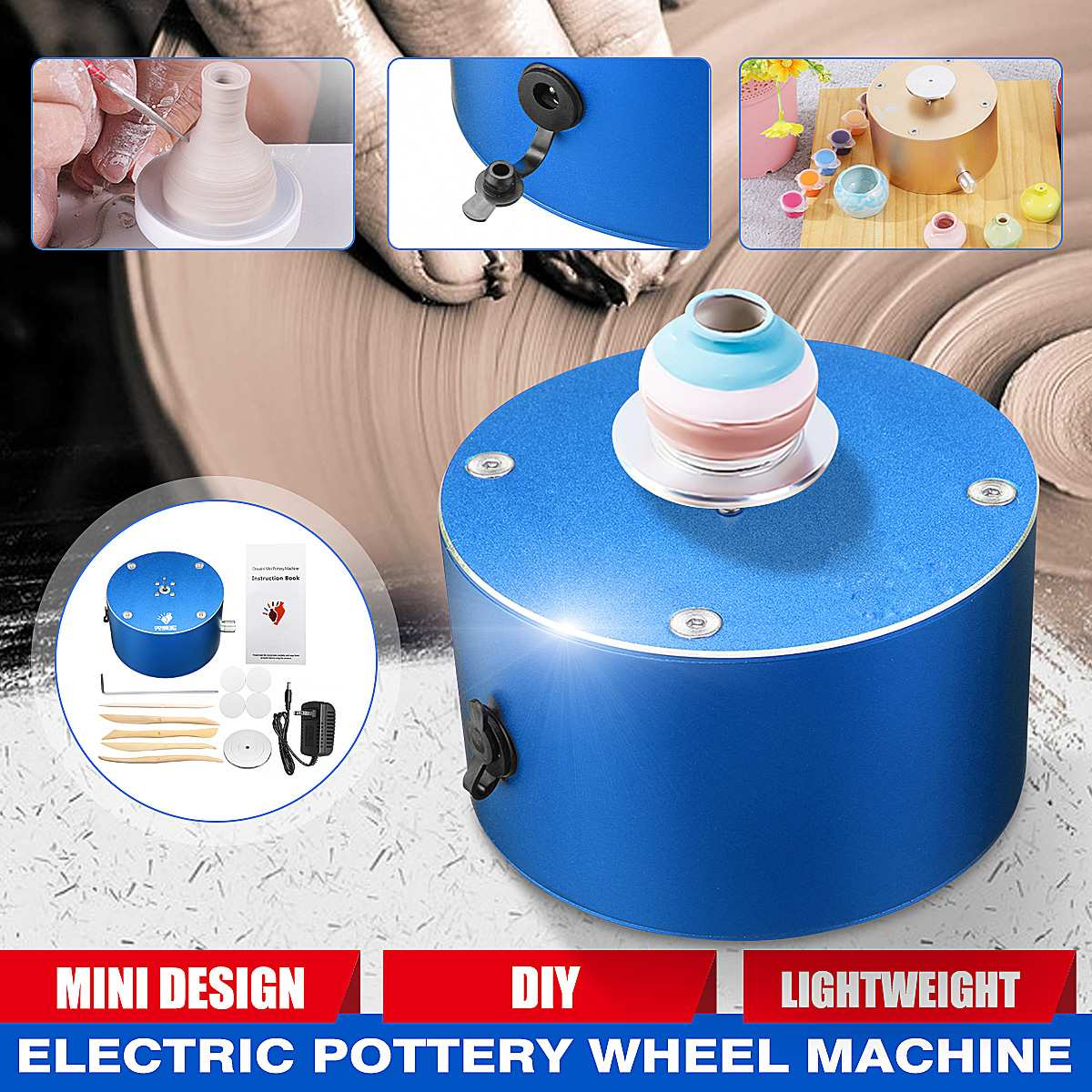 Turning Electric Pottery Wheel Ceramic Machine 12V 1500Rpm DIY Ceramic Clay Pottery Making Tool Kit With Turntable