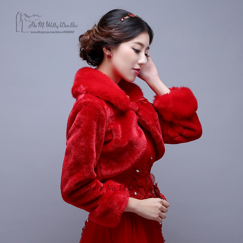 White Red Short Wedding Jacket Wraps with Long Sleeves for Bridal ...