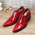 Primavera Otoño Hombres Casual zapatos de cuero Punta estrecha Lace Up Charol Rojo zapatos de Boda de Los Hombres Pisos Bajos zapatos de Negocios 022