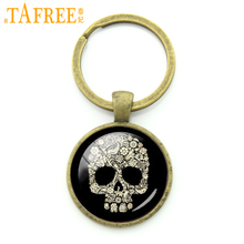 TAFREE Trendy Festival Gift Vintage Creative Crystal Skull Golden Sugar Keychain Day Of The Dead