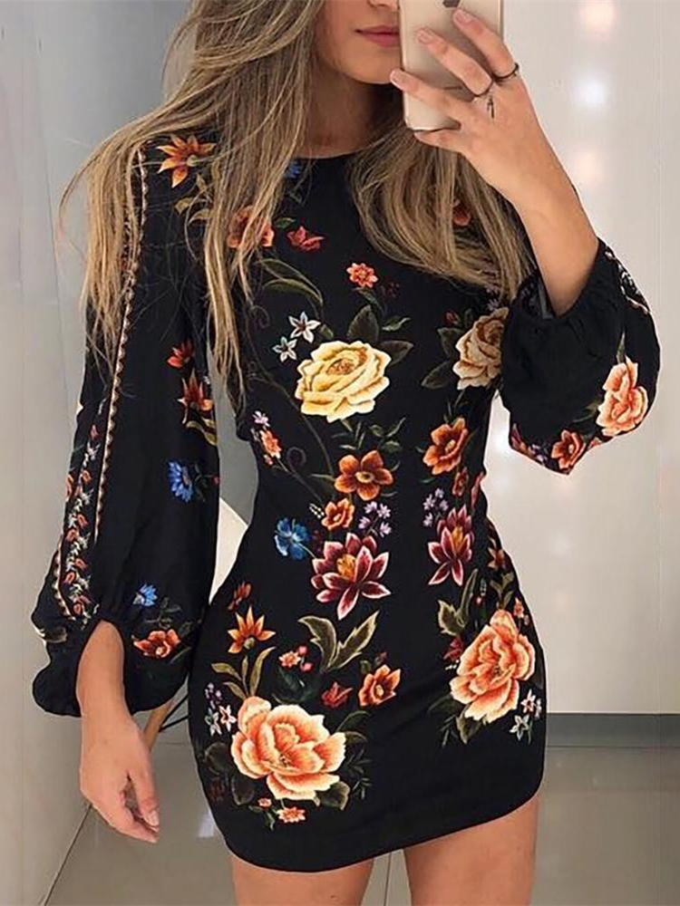 2019 Elegant Fashion Women Slim Fit Leisure Casual Bodycon Mini Dress Female Cutout Back Bishop Sleeve Floral Dress