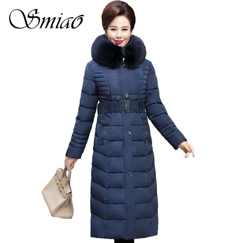 Smiao 2018 Winter Women Hooded Elegant Coat Fur Collar Thicken Warm Long Jacket Female Plus Size 5XL Outerwear   Parka   Ladies 4XL