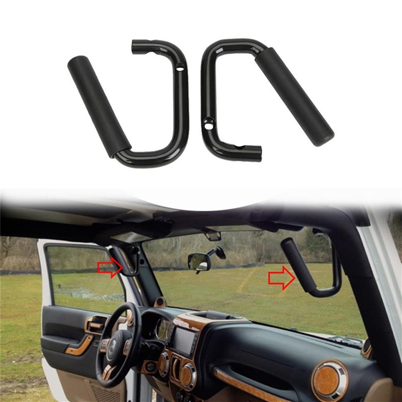 Wrangler TJ Front Seat Grab Handles Grab Bars 2 & 4 Door Front Grab Handles for jeep  Wrangler JK 2007 -2017 2 pcs black car styling parts front rear grab bar handles for jeep wrangler jk 2007 2017 new fashion upgraded