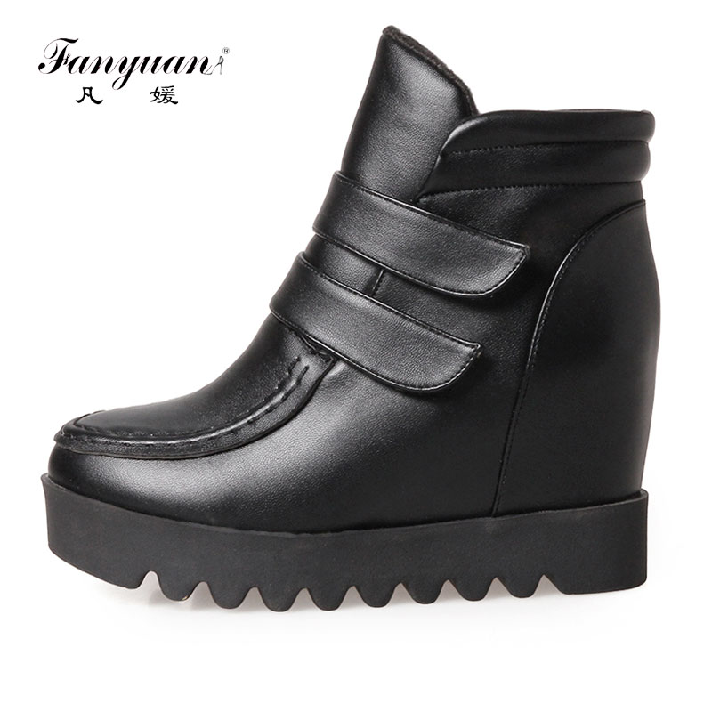 Fanyuan 2017 Women Platform Wedge Heel Ankle Boots Women Shoes With Increased Platform Sole Girl Fashion Casual Hook&loop Shoes nayiduyun women genuine leather wedge high heel pumps platform creepers round toe slip on casual shoes boots wedge sneakers