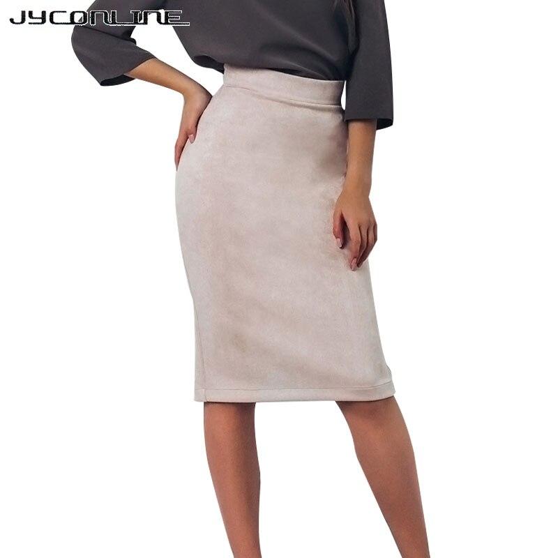 JYConline 2017 Split Vintage Suede Pencil Skirt High Waist Women Knee Length Bodycon Skirt OL Office Elegant Skirts Womens Saia
