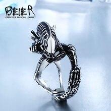 Beier Acero Inoxidable 316L Anillos de Dedo Para Los Hombres de Estilo Gótico Anillo de la Película Alien Predator BR8-358