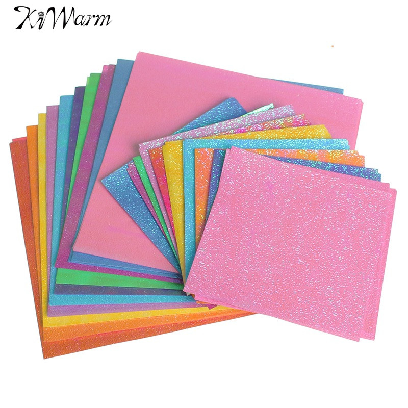 Diy 50pcs Set Square Origami Paper Single Sided Solid Color Shining