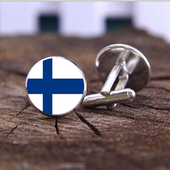 21017 Men's Fashion Cufflinks Silver Plated Finnish national flag Pattern Cufflinks Wedding Gifts Antique Party Men's Cuff Links image