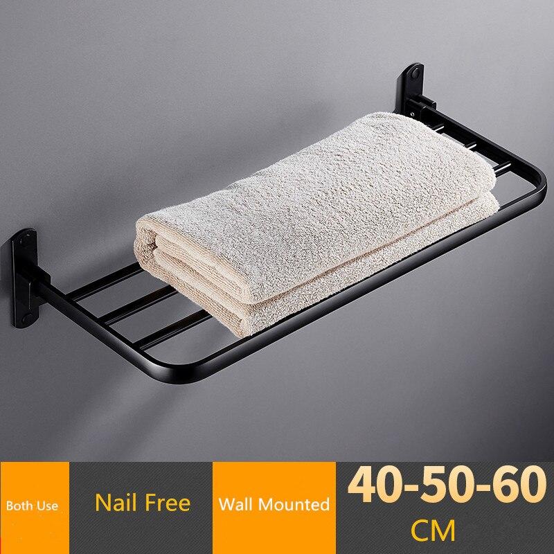 Folding Bathroom Towel Rack Black/White Aluminum Movable Bath Towel Holder 40/50/60 CM Bath Shelves  Nail Free/Wall Towel Rail
