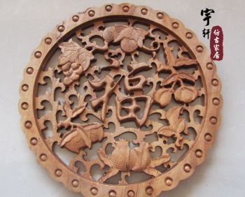 Dongyang wood carving camphor wood hangings wall decoration crafts entranceway partition solid wood