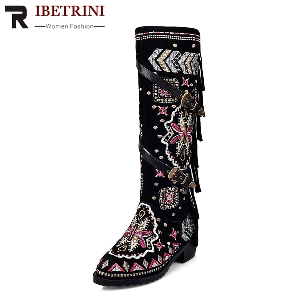 Bottes Chaussures Plate Haute Pompon Avec Ethnique En Femme Fleur Noir forme Talons De Taille Relief Genou Neige Rond 33 Bout Ribetrini Épais 43 OwSgqH