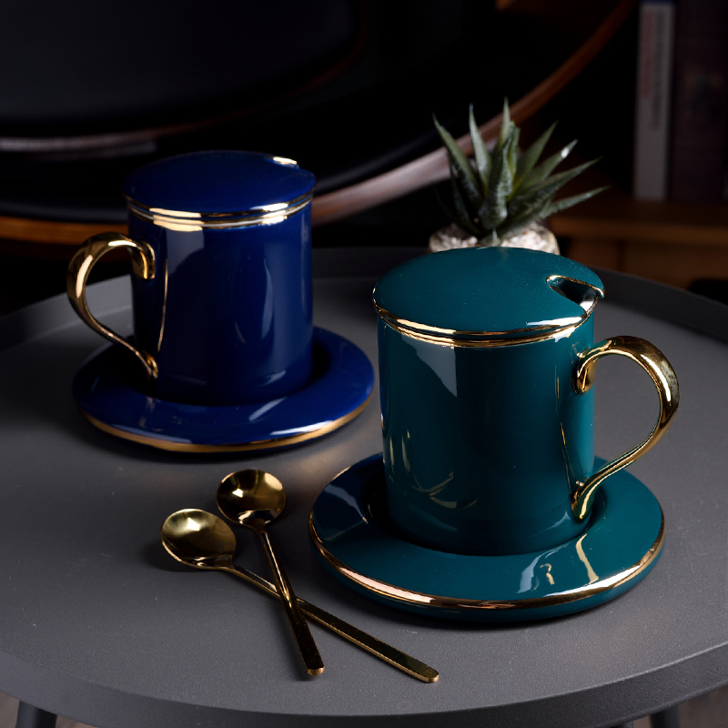 Ceramic Mug Cup flower teacup home with cover spoon filter set Nordic coffee cup disc Office water Cup blue GreenCeramic Mug Cup flower teacup home with cover spoon filter set Nordic coffee cup disc Office water Cup blue Green