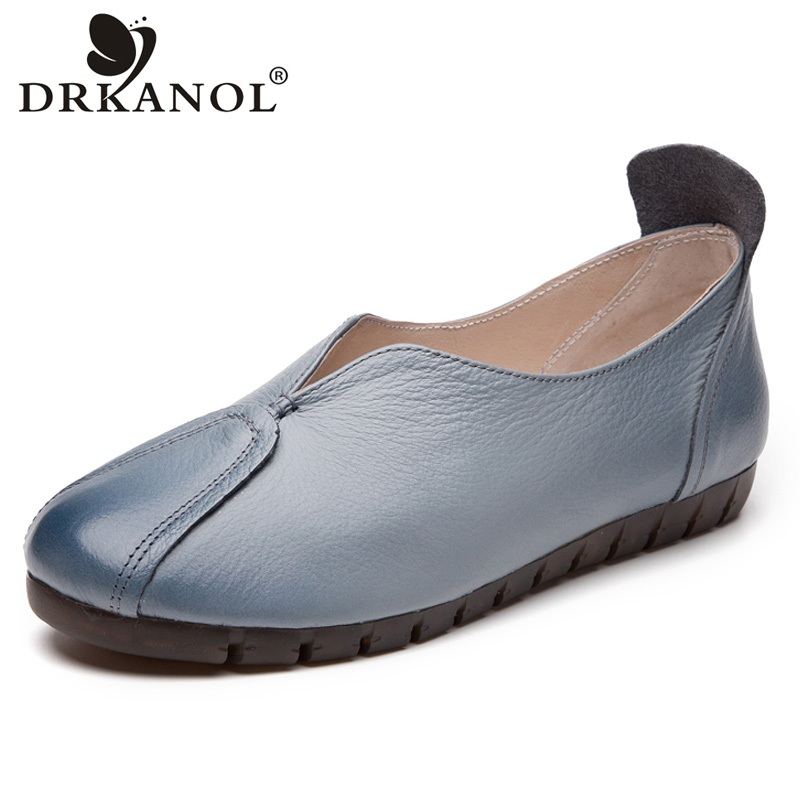 DRKANOL New 2018 Genuine Leather Women Flat Shoes Slip On Loafes Women Flats Soft Cow-muscle women Casual Shoes Big Size 35-42 new fashion luxury women flats buckle shallow slip on soft cow genuine leather comfortable ladies brand casual shoes size 35 41