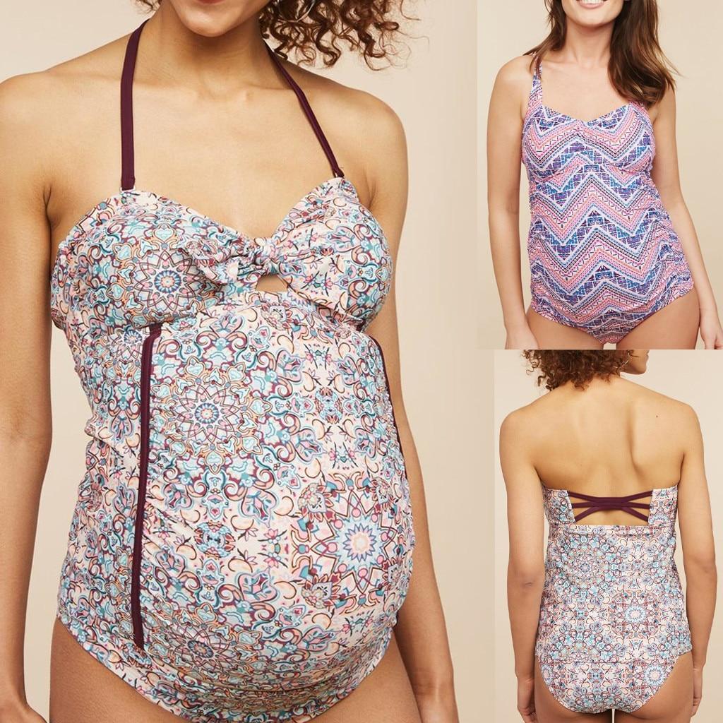 Maternity Tankinis Women Floral Print Bikinis Swimsuit Beachwear Pregnant Suit maillot de bain grossesse costume premaman