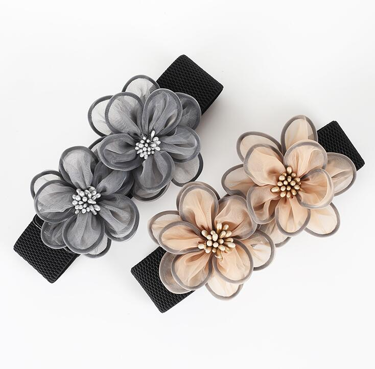 Women's Runway Fashion Flowers Elastic Cummerbunds Female Dress Corsets Waistband Belts Decoration Wide Belt R1466