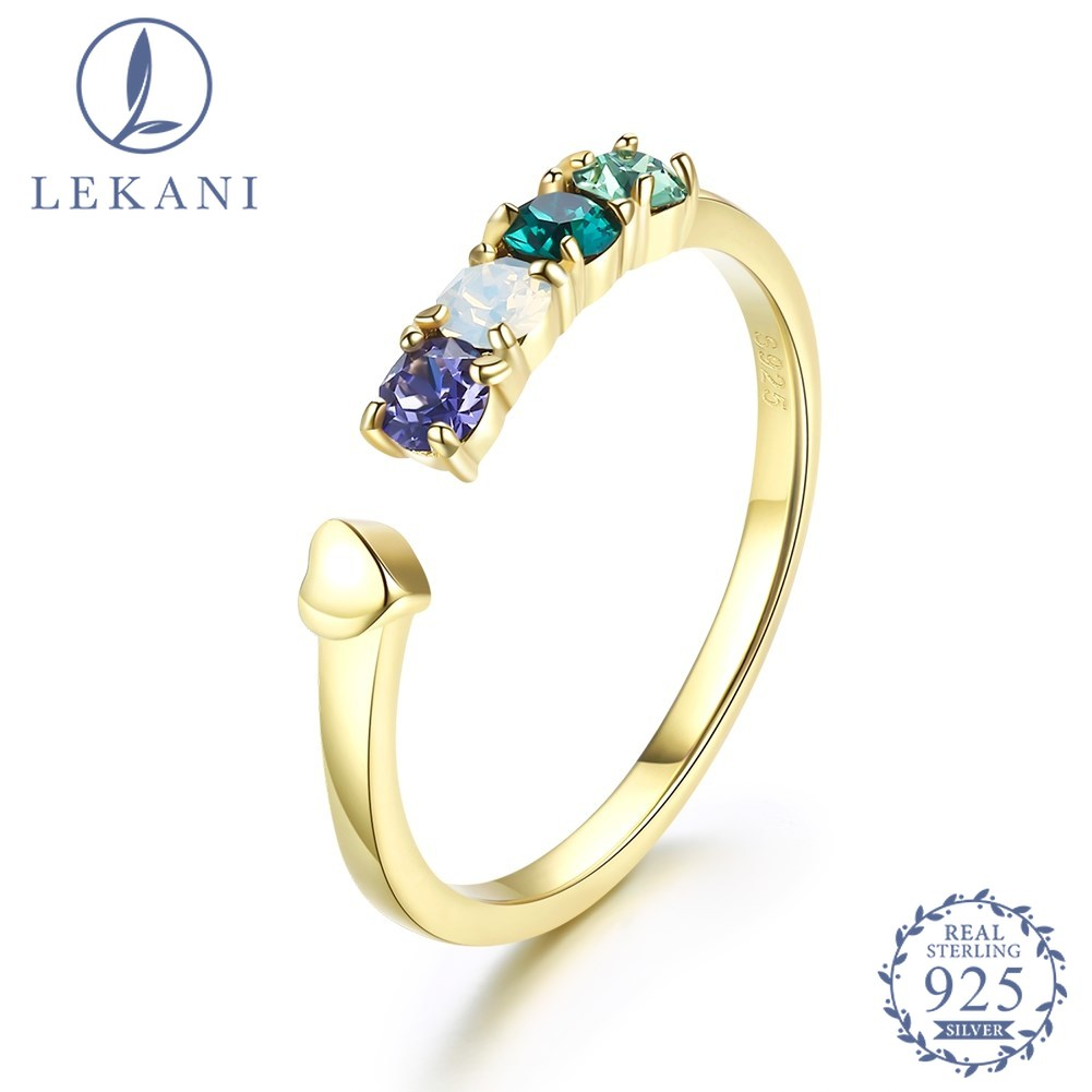 LEKANI Crystal From Swarovski  S925 Sterling Silver Ring Fashion Opening Adjustable Ring Fine Jewelry For Women