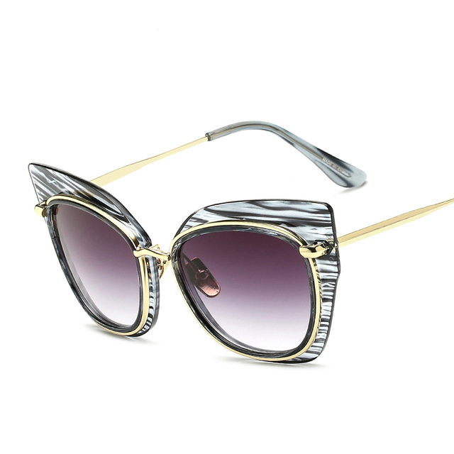 Ojo de Gato negrita borde XL tamaño hombres mujeres lente gradiente Delgado  templo gafas de sol 7bb9080fe808
