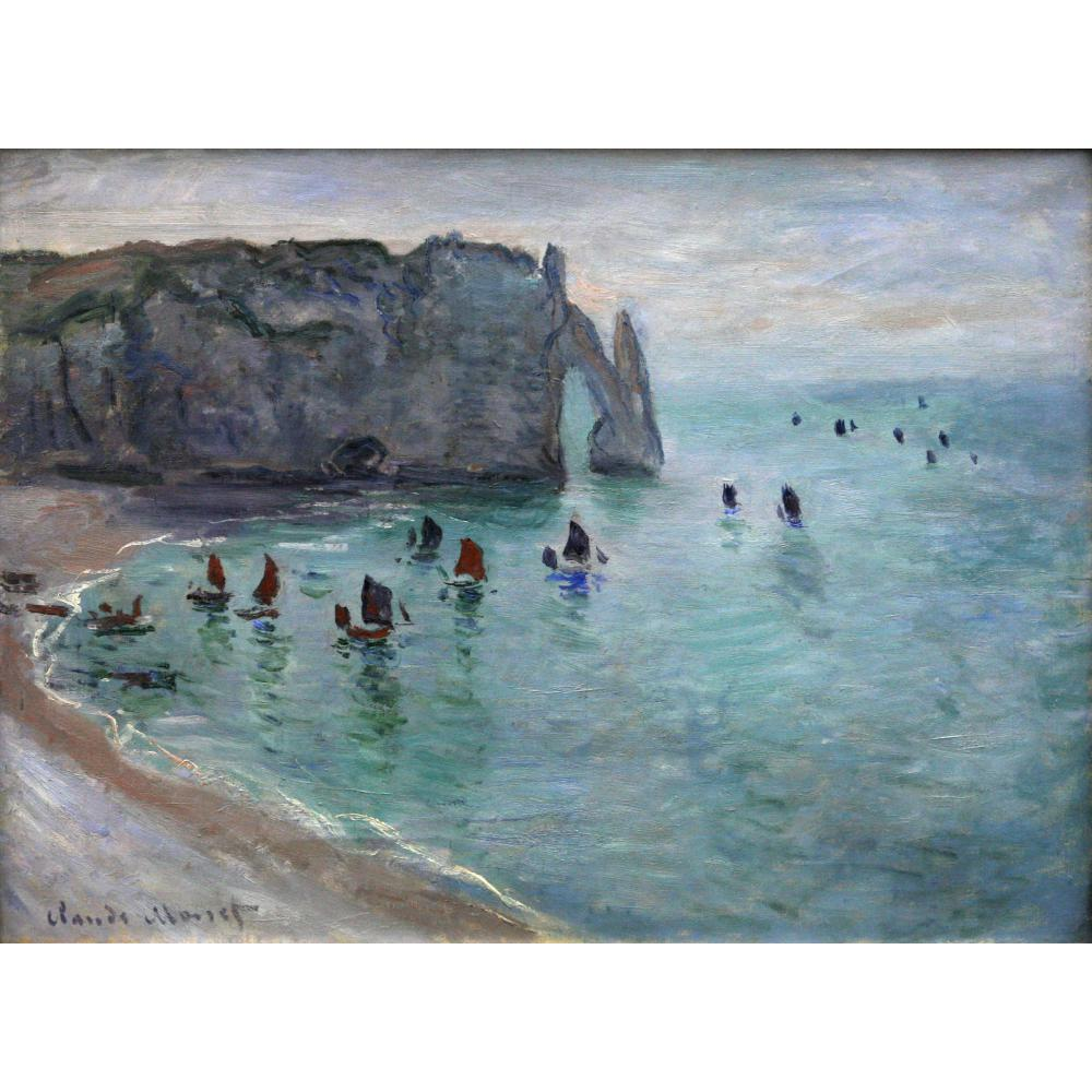 High quality Claude Monet paintings Etretat the Aval Door Fishing Boats Leaving the Harbour oil on canvas handmade Home decor