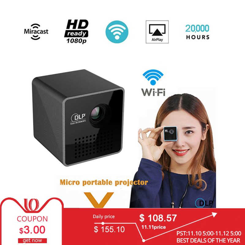 Mini Projector 1080P Wireless WIFI Mobile Projector Support Miracast DLNA Pocket Proyector home theater 5.1 DLP Beamer Battery цена и фото