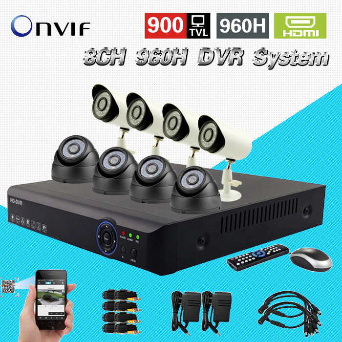 8ch CCTV surveillance system 900tvl IR waterproof outdoor indoor cftv camera HDMI 1080P dvr nvr recorder security kit 8channel картридж cactus cs c729m для canon i sensys lbp7010c lbp7018c пурпурный 1000стр