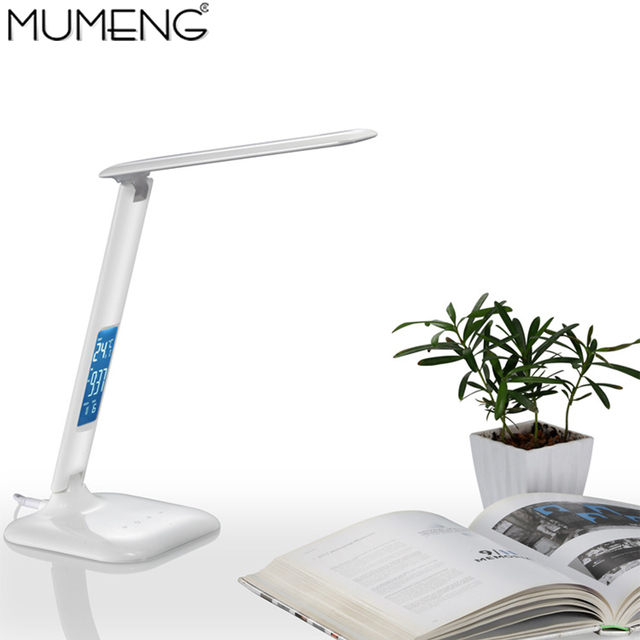 mumeng LED Book Light LED Display TMP Date timming Desk Lamp 4W USB Rechagable Lampra Dimmable Portable Lampada Table Fixture
