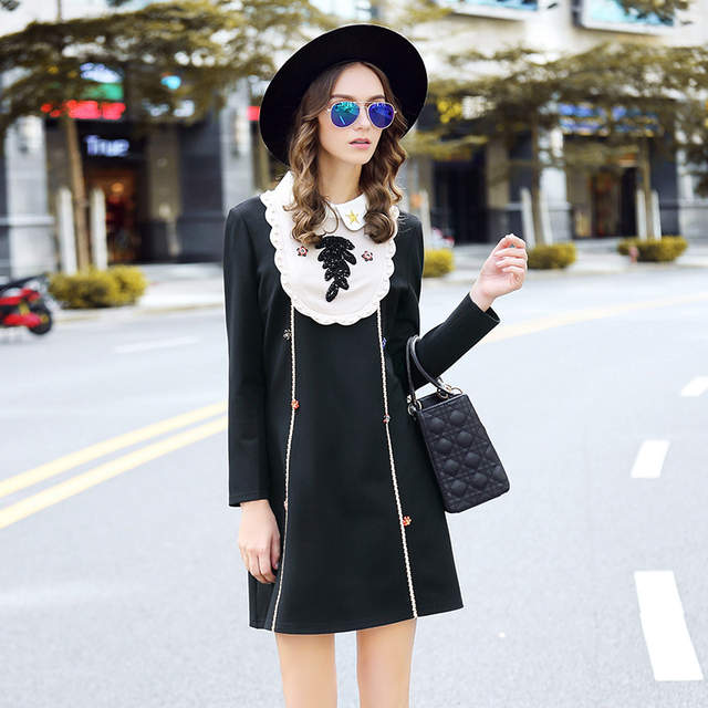 Beaded Bib Collar Shift Dress Women Plus Size Long Sleeve Dresses Occasion  Wear Black 5xl