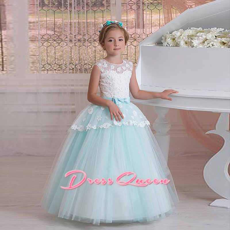 2017 New Appliqued Flower Girl Dresses For Weddings Tulle Ball Gown Pageant Dress Floor Length Party Communion Dress With Sash 2017 new arrival 4t 8t girl party dress organza cotton lining kids pageant ball gown turquoise flower girl dresses for weddings