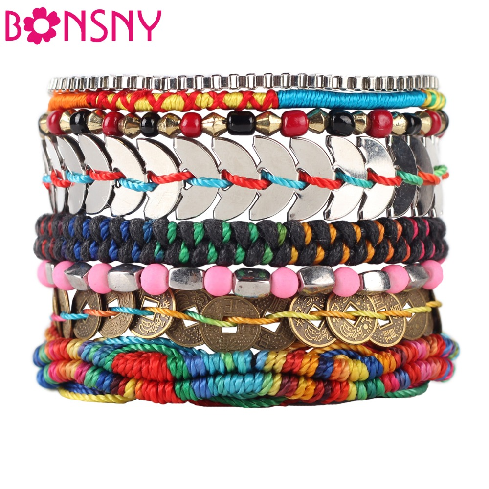 Bonsny Luxury Bohemia Bead Pulsera hecha a mano para mujer Marca Brazalete Tejido Lentejuelas Pulseras de moda 2016 Noticias Joyería para niña