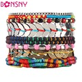 Bonsny Luxury Bohemia Bead Handmade Bracelet For Women Brand Bangle Weave Sequins Fashion Bracelets 2016 News Jewelry For Girl